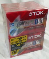 NEW PACK OF 12 TDK D60 CASSETTE TAPES NORMAL BIAS IEC 1/TYPE 1 -A5