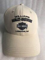 "Vintage 90's HarleyDavidson""WILLIAMS LEBANON,NJ""Sand Color LRG Stretch Band  CAP"
