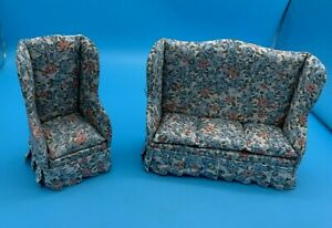 DOLLS' HOUSE MINIATURE - FLORAL THREE SEATER SOFA & ARMCHAIR