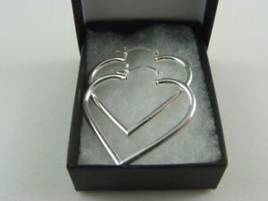 New 925 Sterling Silver Heart Creole Style Earrings 30mm Drop & Gift Box