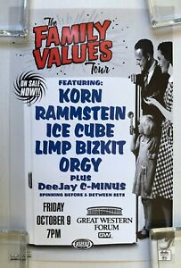 THE FAMILY VALUES TOUR 1998 L.A. Concert POSTER KORN Rammstein LIMP BIZKIT
