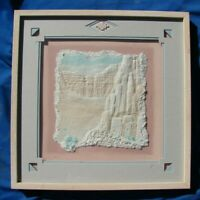 VTG Framed ART Southwestern CLIFF Dwelling 3D WET CAST PAPER Pressed Signed WESS