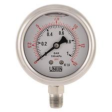 Unijin P255 Oil Filled Pressure Gauge 25 Dial Bottom Mount 14 Npt 0 15psi