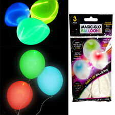 PACK OF 3 MAGIC GLOW BALLOONS LED BULB PARTY FUN KIDS COLOUR OCCASION LIGHT UP