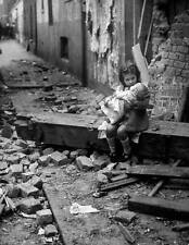 WWII Photo Child with Doll in Rubble Germany WW2 B&W World War Two / 2189