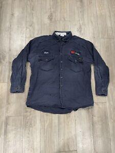 Navy Blue Workrite FR Work Shirts Size 50 XL-REG Flame Resistant Ex-Uniform