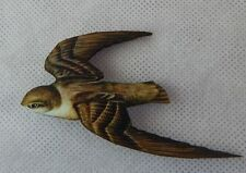 Swallow Bird Brooch or Scarf Pin Accessories Handmade NEW Wood Multi-Color