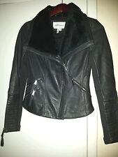 Bcbgeneration Leather Jacket, Dark Gray, Motorcycle, Shearling, Sz XS