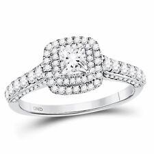 14k White Gold Womens Princess Diamond Bridal Wedding Engagement Ring Certified