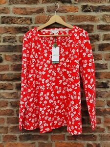 🐝 JOULES HARBOUR LIGHTWEIGHT SWING V NECK JERSEY TOP Red Floral UK16 BNWT £30