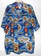 Vtg RJC Hawaiian Islands w/ People Blue Red & Gold Mens Cotton Shirt Sz 2XL USA