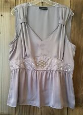 XL GRAY POLY SATIN SLEEVELESS TOP SEQUIN DETAIL EVENING DATE CAREER CAMISOLE ZIP
