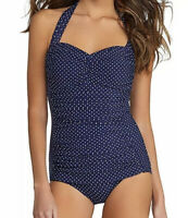 NWT Miraclesuit Womens Navy Spellbound Underwire One Piece Swimsuit Size 8