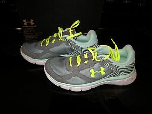 Brand New Girls Green & Gray Under Armour GGS Micro G Velocity Tennis Shoes, 5.5