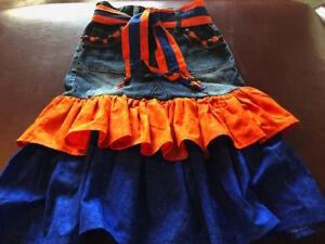 Size 10 girls up cycled denim skirt trimmed in blue & orange for football season