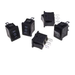 5 pcs SPDT On/Off/On Mini Black 3 Pin Rocker Switch AC 6A/250V 10A/125V  WS