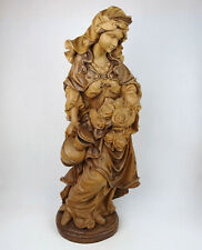 Religiöse Holzfigur Hl. Elisabeth mit Rosen 60cm, Holz geschnitzt Südtirol
