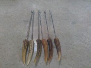 "Vintage Fondue Forks Set of 6 Stainless Steel 10"" with elk or deer horn handles"