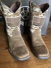 "Ariat Sport Patriot 11"" Sand Camo Print Western Roper Boots Men's Size 9D"