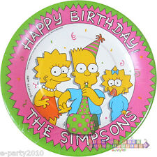 SIMPSONS SMALL PAPER PLATES (8) ~ Vintage Birthday Party Supplies Cake Dessert