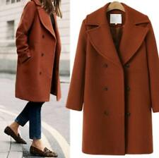Womens Thicken Wool Blend Lapel Double Breasted Trench Outerwear Jacket Coat F50
