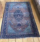 4'X7' Genuine Antique 19th C Mideastern Handmade Wool Rug Oriental Carpet Charm!