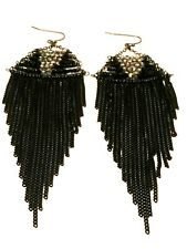 STATEMENT Long Big Large Black Beaded Crystal Diamante Drop Dangle Earrings uk