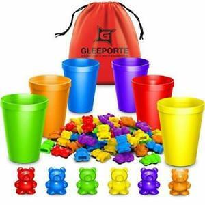 Rainbow Counting Bears Matching Sorting Cups 67 Pcs Set Storage Bag Educational