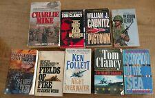Lot of 9 Paperbacks Action Tom Clancy, Vietnam, James Webb, Ken Follett, War