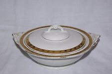 Vintage Burleigh Ware White with Gold Band Tureen Vegetable Serving Bowl & Lid