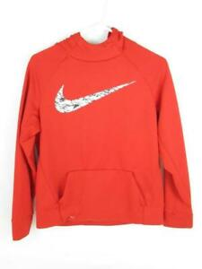 Nike Dri-Fit Youth Hoodie Sweatshirt Red Unisex Size XL White Black Logo