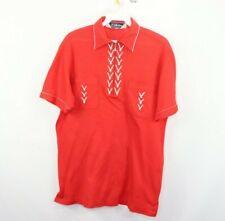Vtg 70s Mens Medium Half Zip Double Pocket Rockabilly Short Sleeve Polo Shirt