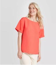 Women's Short Sleeve Linen Cuff T-Shirt - A New Day - NWOT - Coral - S - C519