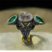 Fashion Woman 18K Black Gold Filled Emerald Ring Jewelry Wedding Gift Size 6-10