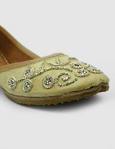 Traditional Mojari Handmade Leather  Indian Wedding Jutties FlatUS-9