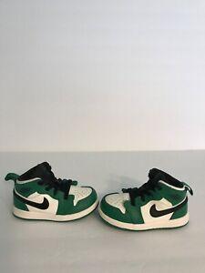 "2018' Nike Air Jordan 1 Mid "" Pine Green"" Infant Toddler High No Box"