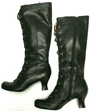 Vince Camuto Women's Size 6 B Tall Black Lace Up Boots Spool Heel Steampunk