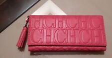 BlACK FRIDAY CAROLINA HERRERA Calfskin Leather CH Logo TASSEL pink  Wallet NWT