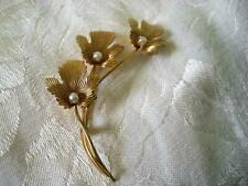 Vintage T 00004000 urin Inc 12 K.T. G.F. Leaves Pin Brooch With Pearls