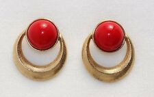 TRIFARI Red Lucite Textured Gold Tone Geometric Clip on Earrings KUNIO MATSUMOTO