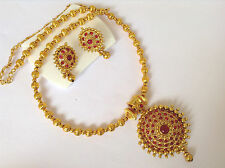 bollywood temple jewellery gold tone red stone DESIGN necklace set & earring