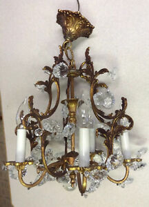 ANTIQUE Petite French 5 Arm Fancy Brass Birdcage Rock Lead Crystal Chandelier