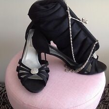 USA Label Touch Ups BlacK Satin Evening Shoes And Bag Size 9 1/2 W