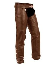 First Classics 2XL Stampede Distressed Brown Leather Motorcycle Chaps FIM835CAN