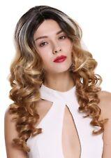 Perruque femme lace-front raie au milieu Boucles méché noir Blond platine