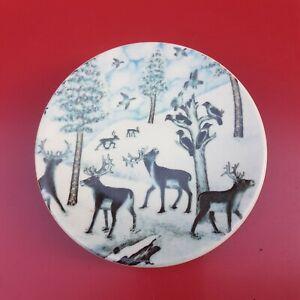 Arabia Iitalla Finland Christmas Plate Migrating Birds Reindeer Scandi Folk Art