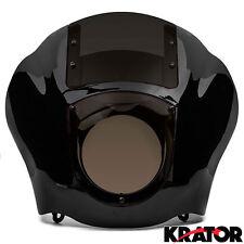 Black Front Headlight Fairing Smoke Cowl Mount For Harley Sportster Dyna FXR XL