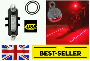 Rechargeable Front + rear laser light set - very bright lamp mountain road bike