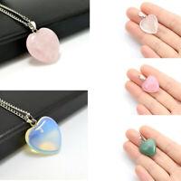 Natural Reiki Gemstone HEART Crystal Healing Chakra Silver Pendant Necklace