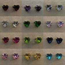 Heart-Cut Cz Stud Earrings in Solid Sterling Silver 5mm 6mm 7mm 8mm All Colors